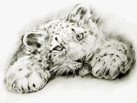Photo for Black-white painted leopard - Royalty Free Image