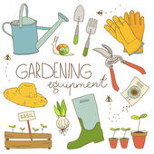 Gardening equipment color illustration