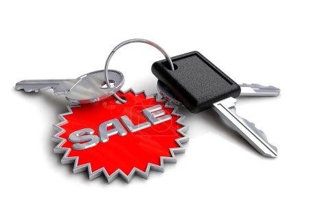 Set of car keys with sale on keyring.