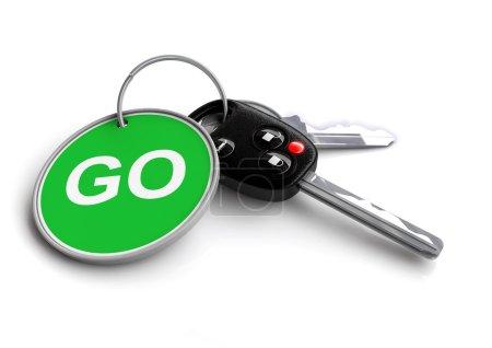 Autoschlüssel mit Verkehrszeichen als Schlüsselanhänger