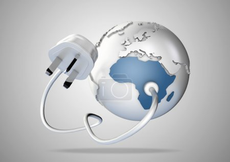 Electrical plug connects to Africa and provides it with electrical energy to power the homes and industries.