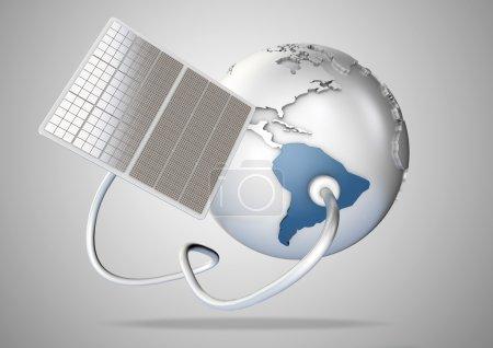 Foto de El panel solar suministra energía del sol a Sudamérica. Concepto de fuentes de energía verde y suministro de energía al mundo . - Imagen libre de derechos