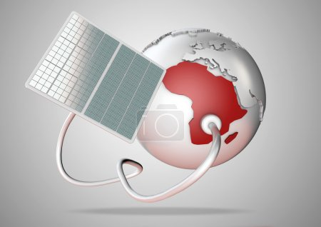Solar panel supplies power from the sun to Africa. Concept for green power sources and energy supply to the world.