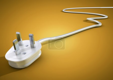 Electrical cable and plug lie unplugged on a flat surface. Concept for power usage and supply around the world.