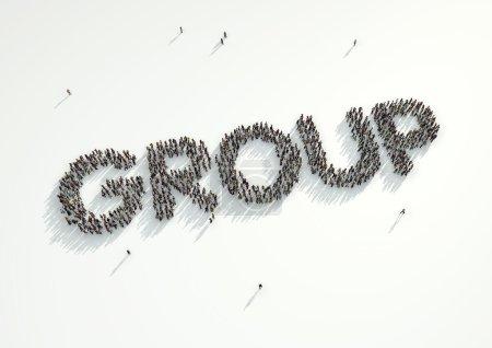 Foto de Disparo aéreo de una multitud de personas formando la palabra 'Grupo'. Concepto de cómo las personas se siguen en redes sociales y canales de redes sociales, sitios web, salas de chat y grupos de noticias. - Imagen libre de derechos