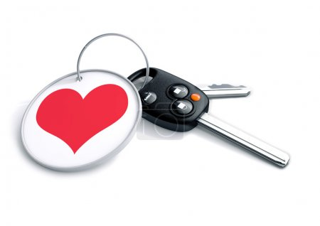 Set of car keys with keyring and red heart icon. Concept for how