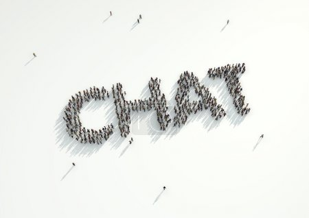 Aerial shot of a crowd of people forming the word 'Chat'. Concep