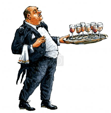 Waiter with a tray in hand.