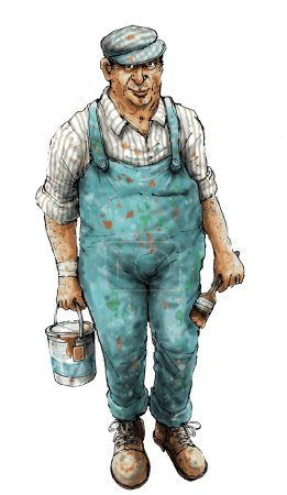 House painter in dirty clothes