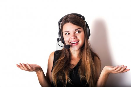 Portrait of happy cheerful beautiful young support phone operato