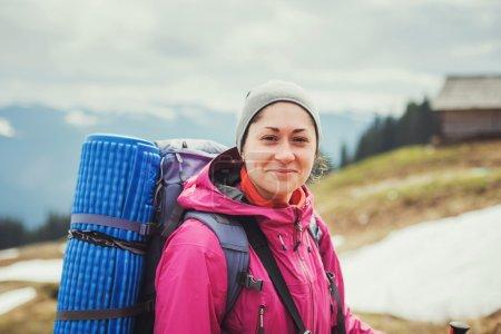 Caucasian hiker woman