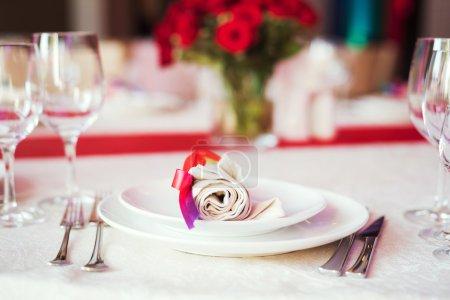 Photo pour Ensemble de table pour mariage ou autre dîner d'événement traiteur - image libre de droit