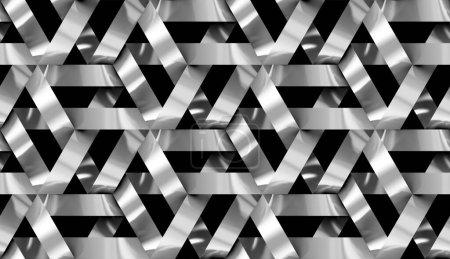 Photo pour Mur 3d Bandes chromées emboîtantes. . Texture réaliste sans couture de haute qualité. - image libre de droit