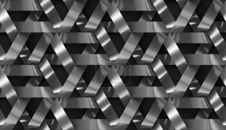Photo pour Mur 3d Bandes chromées noires entrelacées. . Texture réaliste sans couture de haute qualité. - image libre de droit