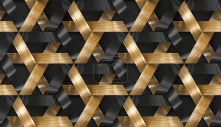 Photo pour Rayures entrelacées texture 3D en bois et doré. Matériau chêne bois. Texture réaliste sans couture de haute qualité. - image libre de droit
