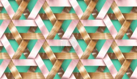 Photo pour Rayures entrelacées en bois et rose clair sur fond vert. Matériau chêne bois et papier décoratif. Texture réaliste sans couture de haute qualité. - image libre de droit