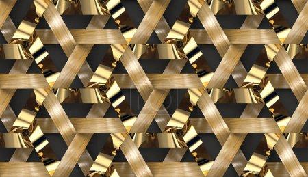 Photo pour Rayures en bois et dorées imbriquées texture 3d. Matériau chêne bois. Texture réaliste sans couture de haute qualité. - image libre de droit