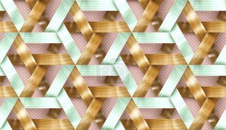 Photo pour Rayures entrelacées en bois et vert clair sur fond rose texture 3d. Matériau chêne bois et papier décoratif. Texture réaliste sans couture de haute qualité. - image libre de droit