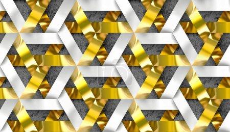 Photo pour Chaîne entrelacée de rayures blanches et dorées sur fond béton. Texture 3D. Texture réaliste sans couture de haute qualité. - image libre de droit