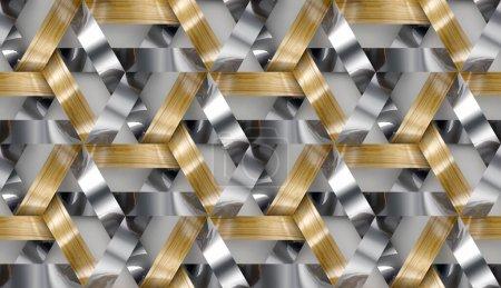 Photo pour Rayures en bois et chrome entrelacées texture 3d. Matériau chêne bois. Texture réaliste sans couture de haute qualité. - image libre de droit