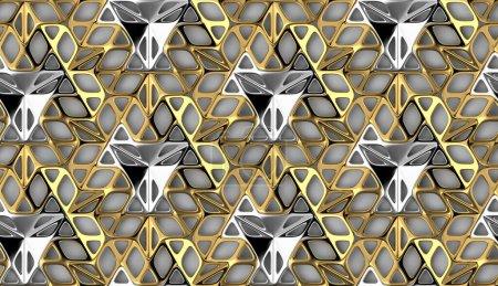Photo pour Fond d'écran 3D de carreaux de forme bionique 3D grille dorée et argentée sur fond blanc. Texture réaliste sans couture de haute qualité. - image libre de droit