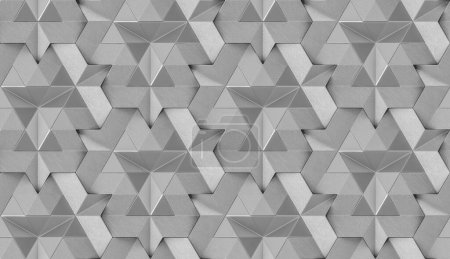 Photo pour Tuiles 3D en cuir gris avec élément interne gris brillant. Texture réaliste sans couture de haute qualité. - image libre de droit