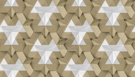 Photo pour Tuiles 3D en cuir doré avec élément interne blanc brillant. Texture réaliste sans couture de haute qualité. - image libre de droit