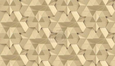Photo pour Tuiles 3D en cuir doré avec élément interne en or brillant. Texture réaliste sans couture de haute qualité. - image libre de droit