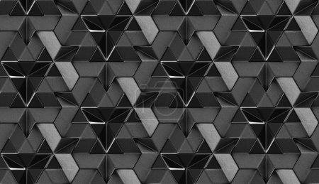 Photo pour Tuiles 3D en cuir noir avec élément intérieur noir brillant. Texture réaliste sans couture de haute qualité. - image libre de droit