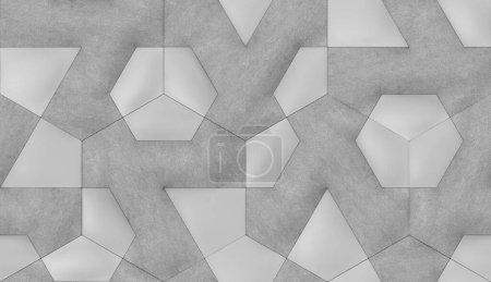 Photo pour Tuiles 3D en cuir gris avec élément textile interne. Texture réaliste sans couture de haute qualité. - image libre de droit