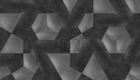 Photo pour Tuiles 3D en cuir gris avec élément textile intérieur en velours noir. Texture réaliste sans couture de haute qualité. - image libre de droit