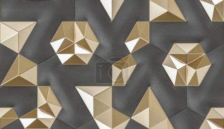 Photo pour Cuir noir carreaux 3D doux avec élément intérieur en or brillant. Texture réaliste sans couture de haute qualité. - image libre de droit