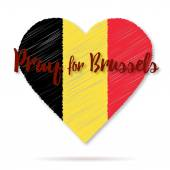 Belgian flag overlaid on heart shape with shadow isolated on white background Flat graphic design element with embroidery effect Phrase Pray for Brussels lettering Anti terrorism concept