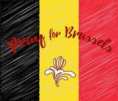 Belgian flag with Brussels Capital Region symbol Phrase Pray for Brussels lettering Flat graphic design elements with embroidery effect Banner or poster with anti terrorism concept