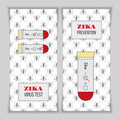 Blood samples for Zika virus with positive and negative test results Set of vertical banners posters or flyers over mosquito pattern Healthcare concept Isolated black yellow red design elements