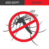 Zika alert banner poster flyer with aegypti aedes mosquito silhouette Forbidden no mosquito sign High quality graphic design elements isolated on a white background Healthcare concept