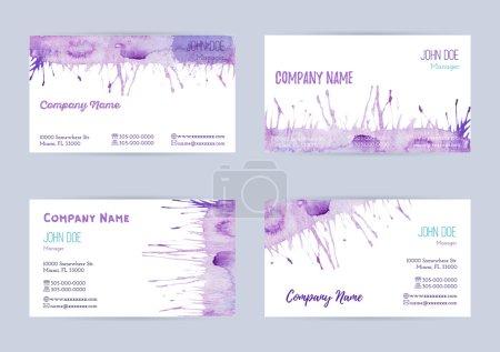 Illustration pour Ensemble de modèles de cartes de visite horizontales aquarelle peintes à la main. Papiers à brosses et éclaboussures colorés, abstraits, bleus et violets sur fond blanc. Conforme à la taille standard . - image libre de droit
