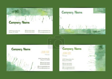Illustration pour Ensemble de modèles de cartes de visite horizontales aquarelle peintes à la main. Coloré, pastel abstrait, vert pinceaux et éclaboussures sur un fond blanc. Conforme à la taille standard . - image libre de droit