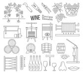 Mega collection of wine making and wine tasting process design elements in modern mono thin line style isolated on white a background Winery icons Wine logos Vector illustration
