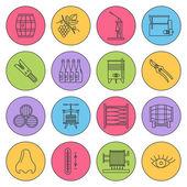 Set of winemaking wine tasting icons
