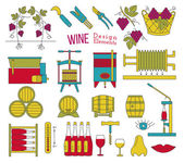 Mega collection of wine making and wine tasting process design elements in modern flat line style isolated on white background Winery icons Wine logo concept Colorful vector illustration