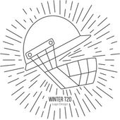 Cricket helmet with vintage sun rays Single logo in modern thin line style isolated on white background Outline cricket game symbol Simple mono linear pictogram Stroke vector logotype template
