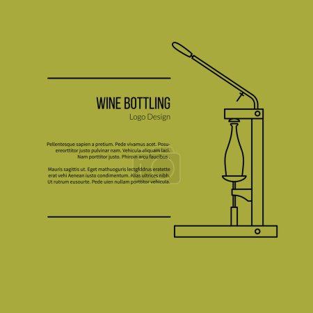 Illustration pour Bouteille de vin. Logo unique dans le style moderne ligne mince isolé sur fond vert. Décrivez le symbole de cave. Pictogramme mono linéaire simple. Modèle de logotype vectoriel AVC . - image libre de droit