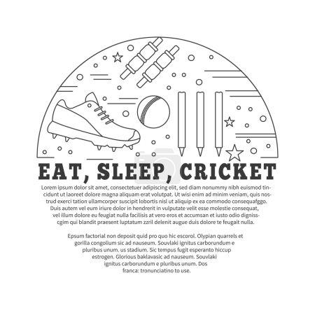 Photo pour Flyer, affiche avec symboles de cricket et objets en cercle avec place pour le texte. Modèle vectoriel avec des éléments de conception graphique de sport de cricket professionnel dans le style de ligne mince isolé sur fond blanc . - image libre de droit