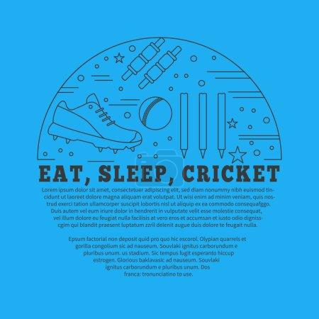 Photo pour Flyer, affiche avec symboles de cricket et objets en cercle avec place pour le texte. Modèle vectoriel avec des éléments de conception graphique de sport de cricket professionnel dans le style de ligne mince isolé sur fond bleu . - image libre de droit