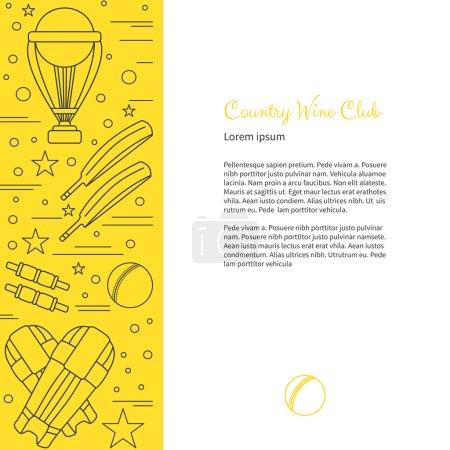 Photo pour Flyer, affiche avec symboles et objets de cricket et avec place pour le texte. Modèle de sport vectoriel avec des éléments de conception graphique de sport de cricket professionnel dans un style de ligne mince isolé sur fond coloré - image libre de droit