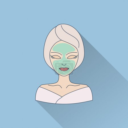 Illustration for Hand drawn beautiful woman with facial mask. Flat icon with long shadow.  Concept for beauty salon, massage, cosmetic and spa. Isolated high quality vector graphic. Easy to use business template. - Royalty Free Image