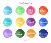Handwritten months names on watercolor background