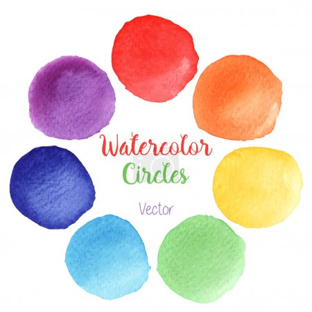 Illustration for Hand painted rainbow watercolor circles. Set of watercolor abstract texture backgrounds. Watercolor circle design elements isolated on a white background. Watercolor round bubbles. Vector illustration - Royalty Free Image