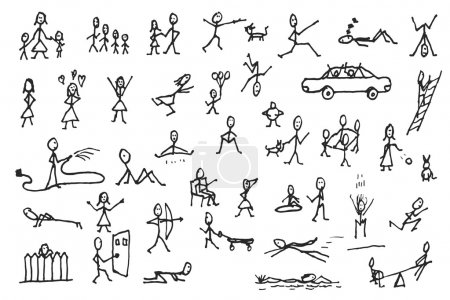 Illustration for Large set of simple stick human and pets figures. People in motion. Big group of hand drawn people isolated on white background. Doodle stick figures sketch design elements. Vector illustration. - Royalty Free Image